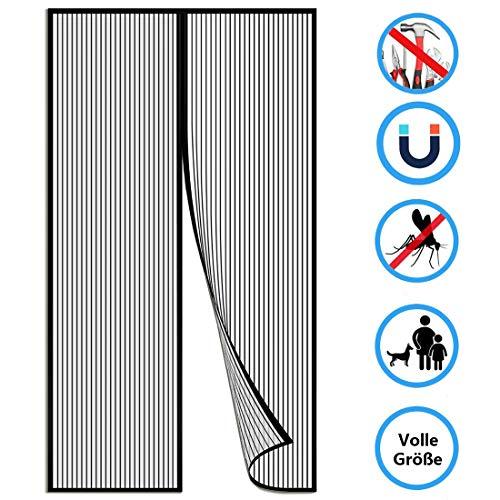 Cortina Mosquitera para Puertas 150x210cm(59x83inch) Sin Huecos Mosquitera Magnética Permite Entrada Aire Fresco para del Balcón Puerta Corredera de Patio, Negro