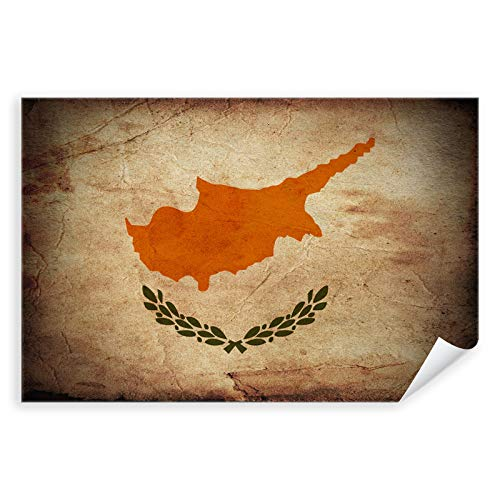 Postereck - 0320 - Vintage Flagge, Fahne Zypern Nikosia - Unterricht Klassenzimmer Schule Wandposter Fotoposter Bilder Wandbild Wandbilder - Leinwand - 100,0 cm x 75,0 cm