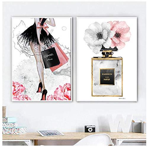 GUOCHEN Pintura en Lienzo, Chica de Moda París Perfume Flor Tacones Altos Carteles nórdicos Impresiones Arte de la Pared Imágenes Decoración de la Sala de Estar Sin Marco