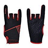 Professional Anti-Skid Bowling Gloves Comfortable Bowling Accessories Semi-Finger Instruments Sports Gloves Mittens for Bowling (Black Red, M)