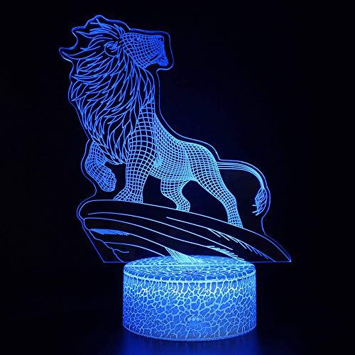 3D Illusion Lampe Led Veilleuse Lion Simba Figurine Le Roi Lion Décoration Enfants Chambres Simba Modèle Table Parfait Cadeaux