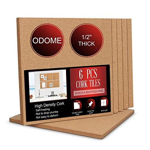 """ODOME Cork Board Tiles 12""""X 12"""" – 1/2"""" Thick Cork Board – Bulletin Board – Pin Board Decoration for Pictures,Ultra Strength Adhesive Backing – 6 Pieces Cork Boards for Walls – 1 Box Push Pins"""