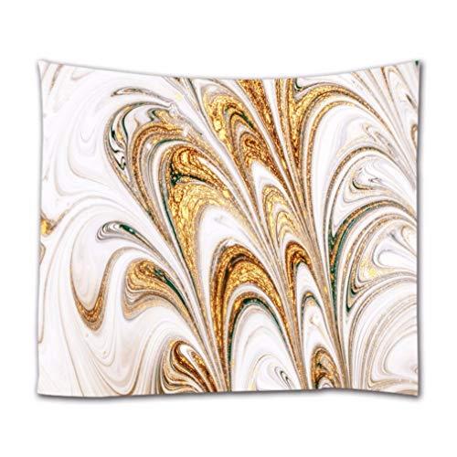 A.Monamour Wandteppiche Goldener Marmor Luxusstrudel Kräuselt Florale Textur Abstrakte Kunst Hintergrunddruck Stoff Wandteppich Dekorative Wandbehänge Für Schlafzimmer Wohnzimmer Schlafsäle 102X153Cm