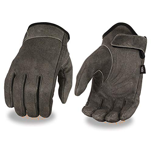 Milwaukee Leather MG7511 Men's 'Gel Palm' Distressed Gray Leather Gloves - Large