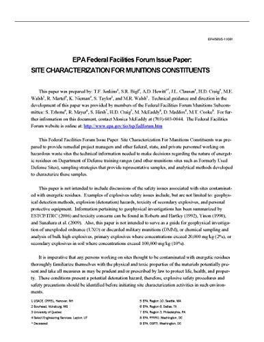 EPA Federal Facilities Forum Issue Paper: Site Characterization for Munitions Constituents (English Edition)