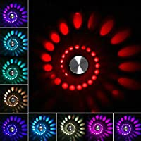 スパイラルLED壁取り付け用燭台ライト、3W / 5W現代の色が変化するRGBウォールランプ、リビングルームのバスルームの寝室の廊下、AC85-265Vの屋内用アルミニウム装飾天井照明器具,Multicolor