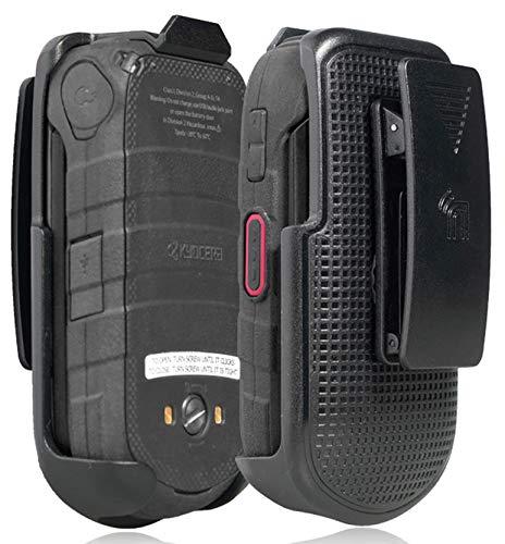 Holster for DuraXV LTE, Nakedcellphone Black [Rotating/Ratchet] Belt Clip Holder Case [with Kickstand] for Kyocera DuraXV LTE E4610, DuraXE E4710