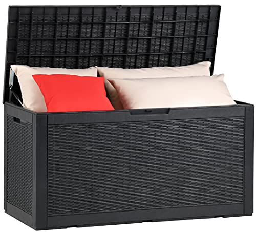 YITAHOME 100 Gallon Large Resin Deck Box Outdoor Storage Boxes for Patio Furniture, Outdoor Cushions, Garden Tools and Pool Toys-Waterproof,Lockable (Black)