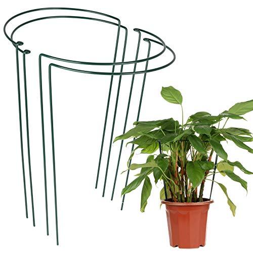LIDEBLUE 4 Stück Pflanzenstützstäbe für Garten Gemüse Stützring Metall halbrund Pflanzen-Stängel Blumen-Stütze für Pflanzen Blumen Tomaten