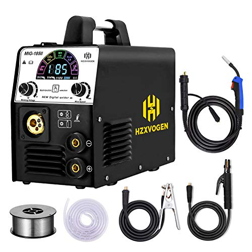 HZXVOGEN Multifunctional MIG Welder 110V 220V 185A with Color LCD Display IGBT Inverter MIG MMA Lift TIG Stick Gas Mix Gases Gasless Flux Cored Wire Solid Core Wire Welding Machine (Model: MIG185Ⅱ)