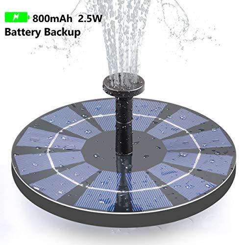 Tranmix Solar Fountain with Battery Backup, 2.5W Bird Bath Fountain Free Standing Solar Powered Fountain for Birdbath,Pond, Pool, Garden, Fish Tank