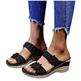 Aniywn Women Wedge Slippers Casual Beach Shoes Flower Open Toe Sandals Outdoor Slip On Sandal Breathable Platform Shoes Black