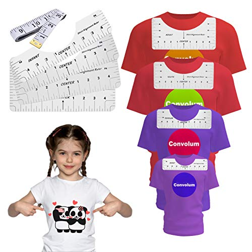 T-Shirt Alignment Ruler,Convolum Tshirt Ruler Guide for Vinyl Handmade Craft T Shirt Rulers to Center Designs for Heat Press,Vinyl, Htv(5 Pcs)