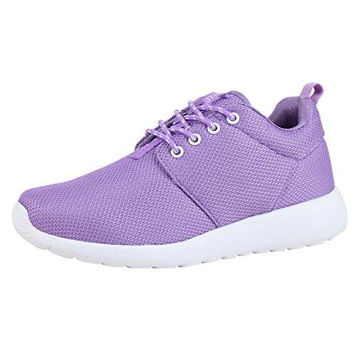 Japado Damen Schuhe Sportschuhe Laufschuhe Sneakers Runners Profilsohle Lila Lila 37
