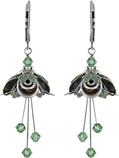 NoMonet Hand Painted Flower Fairy Earrings - Masquerade Earrings - Silver, Brown and Green