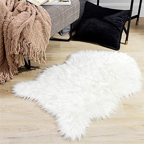 Bedsure Fluffy Faux Fur Rug - Faux Sheepskin Rug for Living Room - Fuzzy Shag Area Rug, 2 x 3ft,White