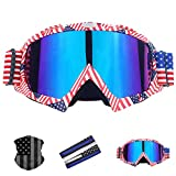 Motorcycle Goggles Dirt Bike Motocross ATV Goggles with Summer ice Silk Sun Protection Sleeve arm Guards,American Flag Face Mask (American flag)