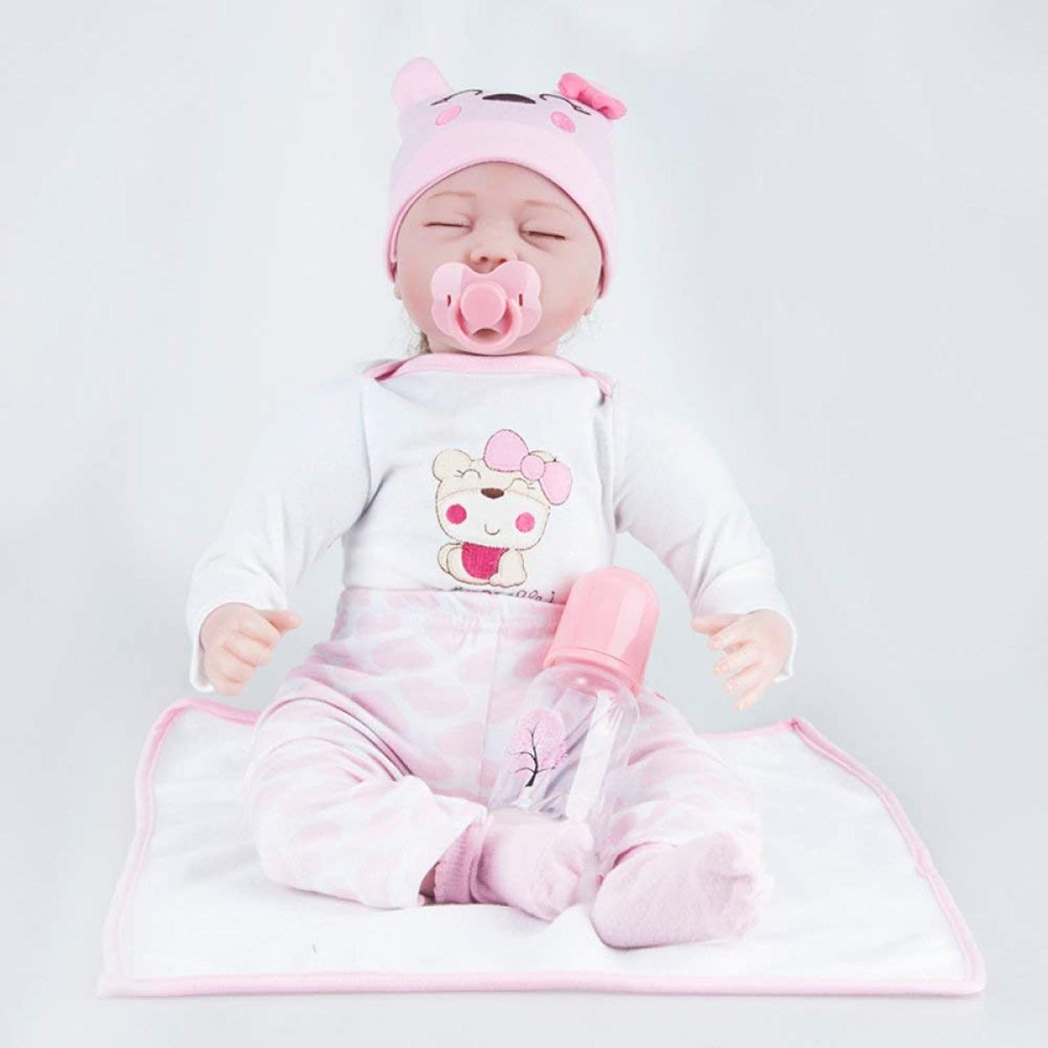 Zicue Instructive Toddler Toy Popular Infant Doll Toy 22 Inchs Reborn Baby Dolls Realistic Handmade Newborn Silicone Baby Doll Lifelike Soft Simulation Eyes Closed Girl Favorite Gift 55cm