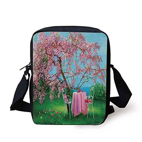 Rustic,Tea Time Theme Vintage Chairs Plum Tree Spring Garden Painting,Light Blue Green and Light Pink Print Kids Crossbody Messenger Bag Purse
