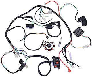 Templehorse Complete Wiring Harness kit Wire Loom Electrics Stator Coil CDI for ATV Quad 4 Four Wheelers 150CC 200CC 250CC Go Kart Dirt Pit Bikes