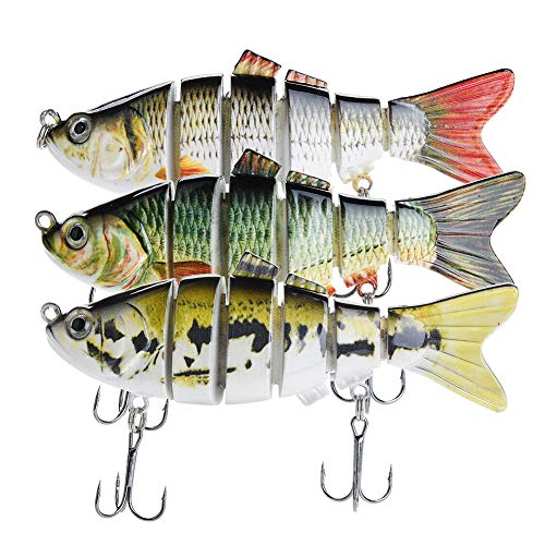 Bass Fishing Lures  Pack of 3 Artificial 6-Joint Fishing Baits  Realistic Swimbaits Lures for Bass  Carbon Steel Hard Bait  3D Eye Design  Rigged with Durable Hooks  3.93-inch ABS Fish Lure