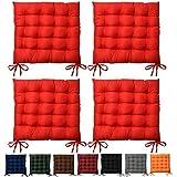 Beautissu 4er Set Lea Stuhlkissen 40 x 40 cm Sitzkissen für Stühle mit 5cm Dicke Polsterung in Rot...