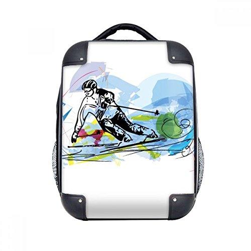 DIYthinker Wintersport Ski Athleten Freestyle Ski Hard Case Schultertrage Kinder Rucksack Geschenk 15