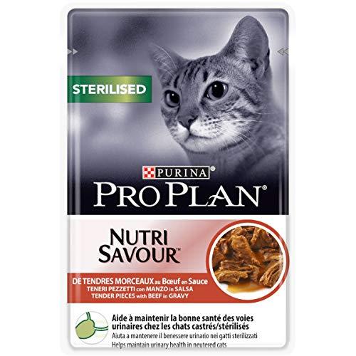 PURINA PRO PLAN STERILISED NUTRISAVOUR Katzenfutter nass für kastrierte Katzen, mit Rind, 24er Pack (24 x 85g)
