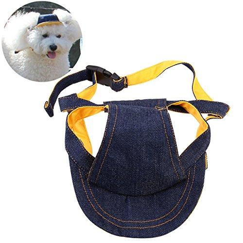 UEETEK Cachorros de Perros Gorra de béisbol Sombrero de Visera Sunhat Correa de Barbilla Ajustable Sunbonnet, Tamaño L para 40-48cm Circunstancia del Cuello
