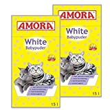 Amora White Katzenstreu mit Babypuderduft 30L (2 x 15 Liter)