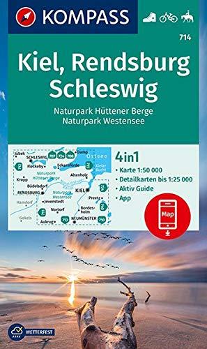 KV WK 714 Kiel, Rendsburg, Eckernförde: 4in1 Wanderkarte 1:50000 mit Aktiv Guide und Detailkarten inklusive Karte...