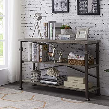 Hombazaar 3 Tier Console Sofa Table Industrial Rustic Entryway Table with Storage Shelf for Living Room Hallway Grey Oak Finish 47-Inch Long