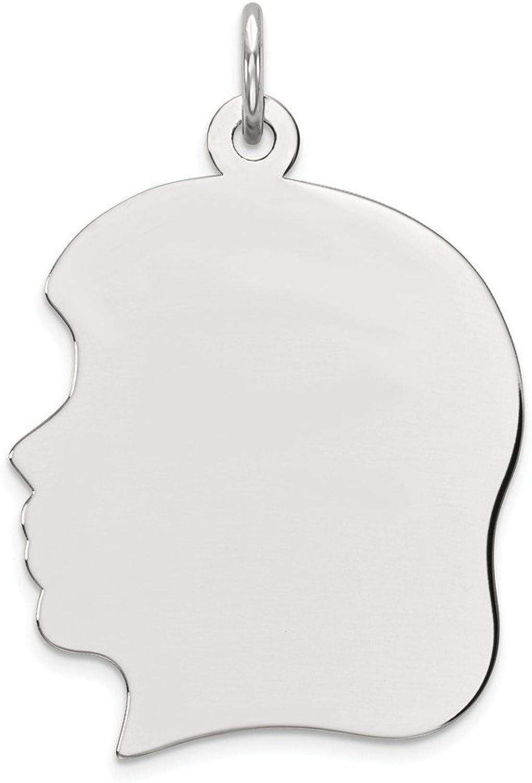 Diamond2Deal 14k White gold Plain Large Facing Left Engravable Girl Pendant