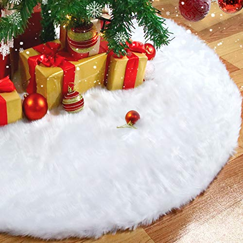 Rorchio Baumdecke Weihnachten ,78cm Weihnachtsbaum Röcke Weißer Schnee plüsch Weihnachtsbaum Teppich Decke Dekoration für Frohe Weihnachten Party Weihnachtsbaum Rock Dekorationen