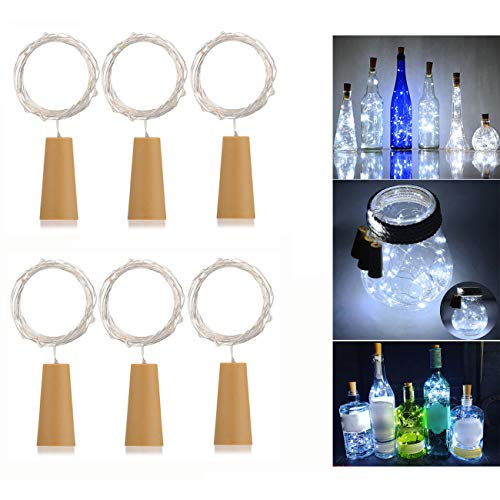 6 Pack 20-LEDS Spark Wine Bottle Light, Cork Shape Battery Copper Wire String Lights for Bottle DIY, Christmas, Wedding and Party Décor (White)
