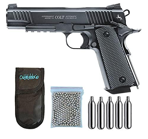 Pack Pistola perdigon M45 CQBP. Blowback. Full Metal. 4,5mm + Funda Outletdelocio + balines + Bombonas co2. 23054 29318 13275