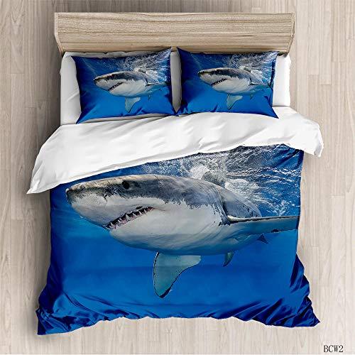 aakkjjzz Double Duvet Covers Set Easy Care Hypoallergenic 3 Pcs Bedding Set Microfiber Machine Washable Shark Quilt Cover 200X200cm and 2 Pieces Pillowcases 50X75cm for Double Bed