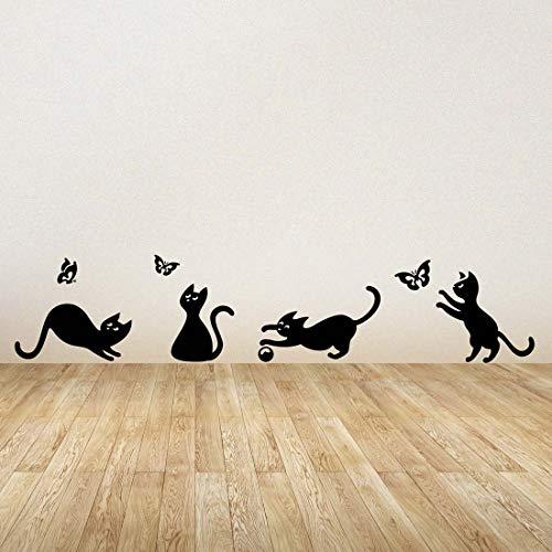 Adesivo da parete in vinile con gatti, che giocano a catturare le farfalle