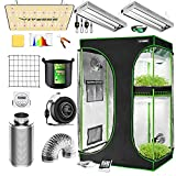 VIVOSUN Grow Tent Complete System, 2-in-1 4x3 Ft. Grow Tent Kit Complete with VS1000 Led Grow Light, 4 Inch 203 CFM Inline Fan, Carbon Filter, 8ft Ducting Combo and 2FT T5 Grow Light Fixture