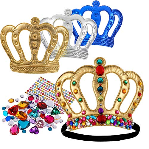 Richness Royal King Crown for Kids DIY Party King Hat Make Your Own King Crowns with Jewel Stickers...