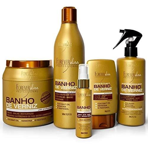 Forever Liss - Kit Completo Banho De Verniz Com Máscara 1kg + Shampoo + Queratina + Leave in + Óleo de Côco