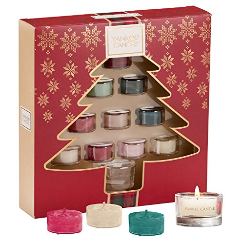 Yankee Candle Set Regalo con 10 Tea Light Profumate e 1 Supporto per Tea Light, Confezione Regalo Festiva a Forma di Albero di Natale