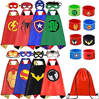 Superhero Capes Set and Wristbands Costumes Halloween Cosplay Dress Up 8PCS