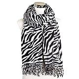 PGDD Mujer Zebra Animal Print Chal Wrap Bufandas con Borla Bufanda de Invierno para Mujer Regalo para Hombre Beige