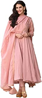 Monika Silk Mill Women's Peach Cotton Silk Embroidered Long Anarkali Salwar Suit with Lace work Dupatta