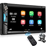 Double Din Car Stereo Receiver, aboutBit Bluetooth 5.0 Car Radio 7 inch Touch Screen Digital Media MP5 Player, Support Mirror Link, Rear/Front-View Camera, AM/FM/MP3/USB/Aux Input, Subwoofer Output