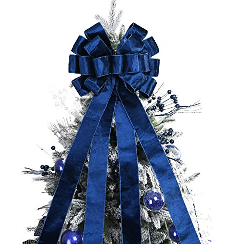 Christmas Tree Topper,48x13 Inches Velvet Toppers Bow,Large Decorative Bows for Christmas Decoration (Blue)