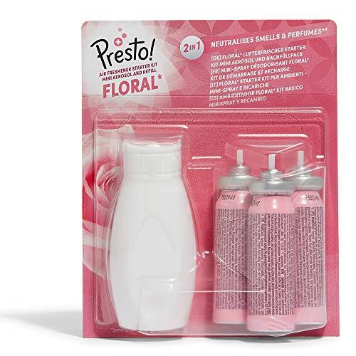 Marca Amazon - Presto! Ambientador Floral* Kit básico Minispray y Recambio (1 Aerosol & 3 recargas) - Pack de 3