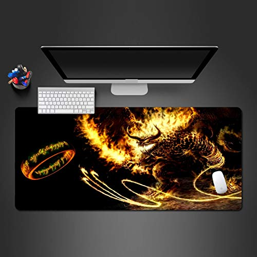 DYYTMTA Alfombrilla de ratón Grande para Juegos Anillo de Monstruo de Fuego Alfombrilla de Teclado Suave extendida 800x300mm Alfombrilla de Escritorio Antideslizante para Gamers, Oficina, PC