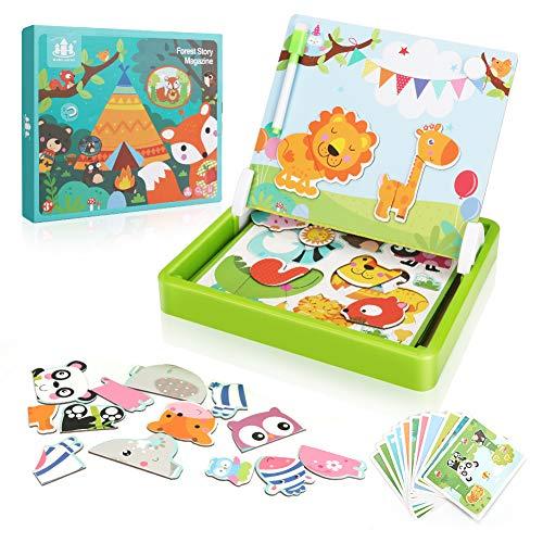 CestMall Libro de Actividades de Rompecabezas magnético para niños de 3-7 años Juego Educativo Jigsaw Toy, Juguetes de Rompecabezas magnéticos Juguete Educativo del Rompecabezas del Juego